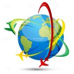 3D Globe with a Green, Red and Yellow Plane Encircling with Trails